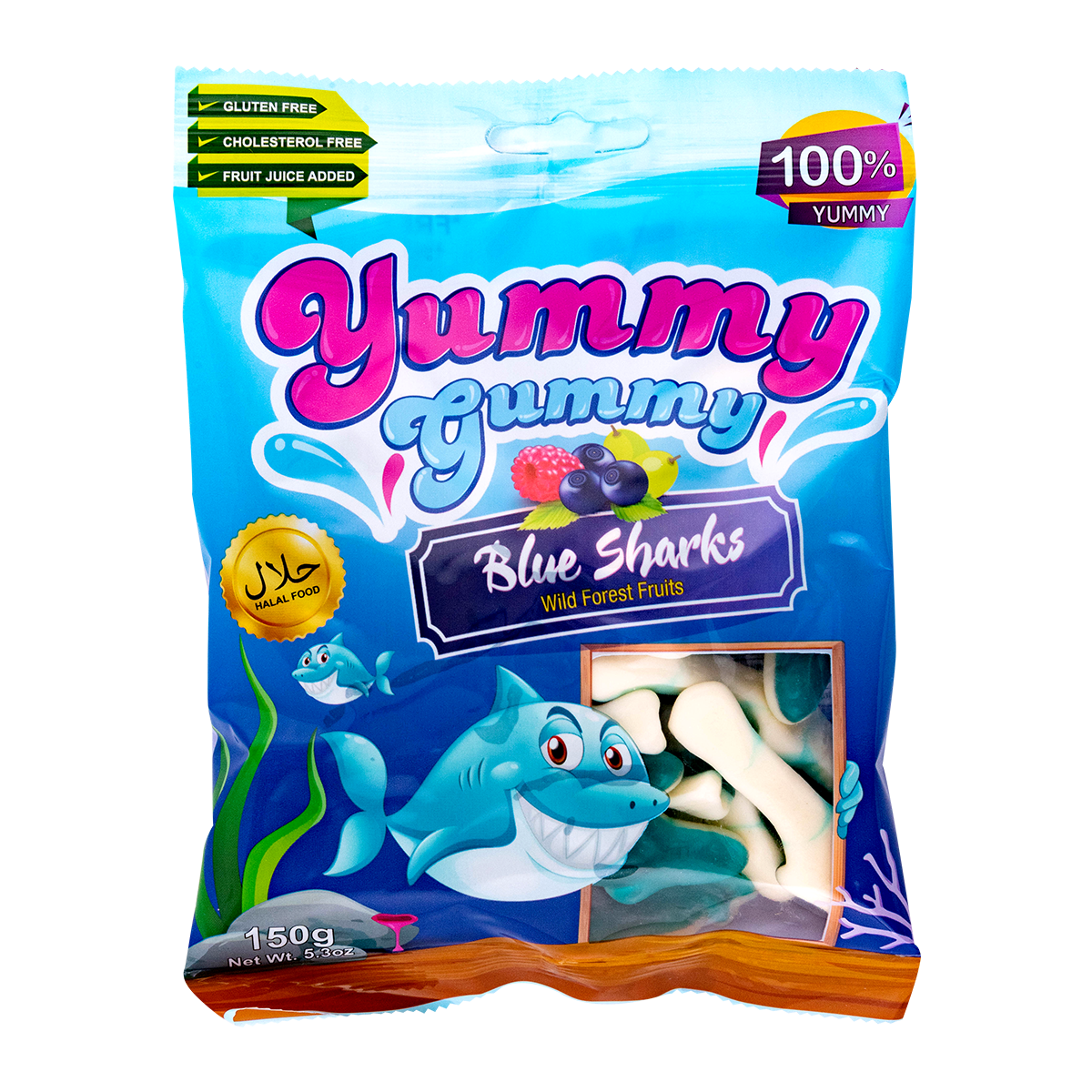 Yummy Gummy Blue Sharks Wild Forest Fruits